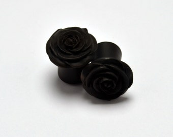 Rose Flower Ear Gauge Plugs (00g) - Arang Wood
