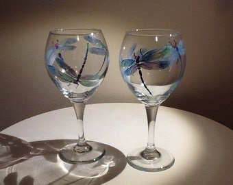 Iridescent Dragonfly hand painted wine Glass..13.95 each glass, makes a beautiful and whimsical gift, a true work of art