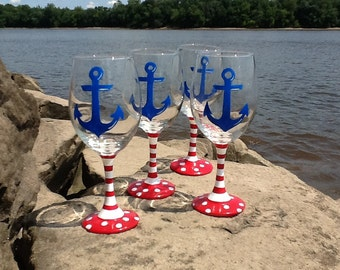 Hand painted Nautical wine glasses