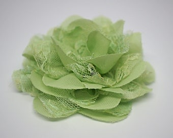 """Two Mint 3.75"""" Fabric Flowers - Lace Flowers - Shredded lace flower - chiffon flower - lace rose - wholesale - Supply - DIY"""