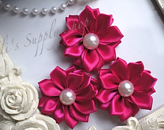 "3 Hot Pink 1.5"" Satin Flowers w/ Pearl Center - Petite Satin flower - Satin Ribbon Flower - Fabric Flower - wholesale flowers"