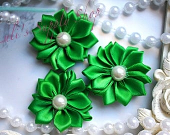 "Set of 3 - Emerald Green 1.5"" Satin Flowers w/ Pearl Center - Petite Satin flower - Satin Ribbon Flower - Fabric Flower - wholesale flowers"