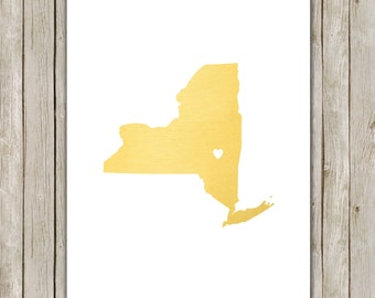 8x10 New York State Printable, State Wall Art, Metallic Gold Printable Art, New York Poster, Office, Home Decor, Instant Digital Download