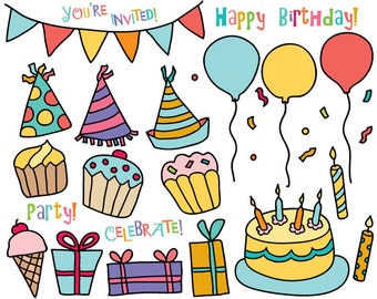 Birthday Party clipart - hand drawn ClipArt - party clipart - Birthday Clipart
