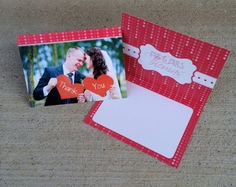 4x5.5 Folding Wedding Thank You Cards - Double Sided Envelopes Included