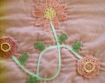 Pink toile crochet shams /prairie girl bedding
