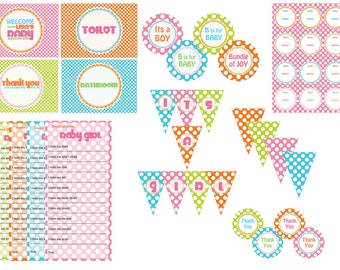Colourful Baby Shower Printable DIY Decorations