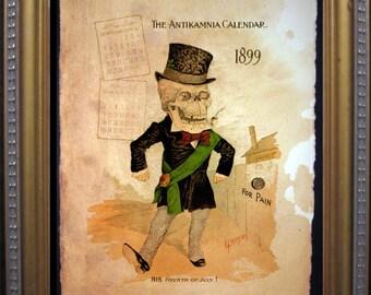 Antikamnia Calendar Skeleton Illustration March Leprechaun Saint Patrick's Day Art Print- Vintage Art Print on Tea Stained Paper