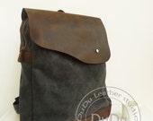 Backpack Genuine Cow Leather Bag / Canvas Backpack /Briefcase - men' s Leather Canvas Satchel backpack - Laptop Backpack - Canvas Bag