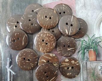 25 Pcs 23mm Coconut button   Brown (W566)