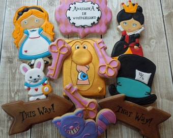 Alice in Wonderland Cookies, Alice Cookies, Alice in Wonderland, Cookie Favors, Birthday, Girls