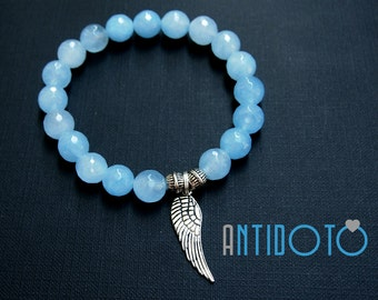 Light BLUE JADE Handmade Bracelet - Natural JEWELLERY - Antidoto - Handmade