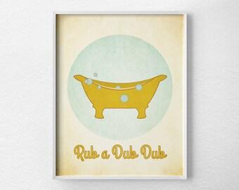 Bathroom Print, Vintage Bathroom Art, Kids Bathroom Art, Bathroom Art, Bathroom Decor, Retro Bathroom, Bathroom Poster, Bathtub Print, 0208