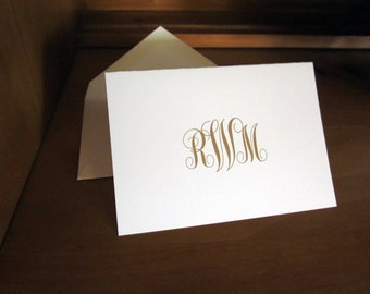 100 (quantity) Monogram Thank You Cards, Folded