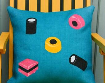 Handpainted and Handmade Designer Liquorice Allsorts Cushion Cover