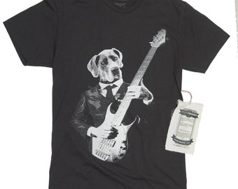 Weimaraner T-shirt. Weimaraner shirt.  Dog Playing Guitar Instrument Men's T-shirt- Funny Dog Playing Bass Shirt in Sizes Small to XXXL
