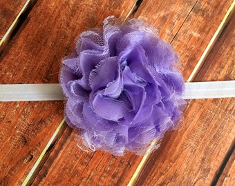 Purple Headband- XL chiffon Flower Headband, Lavender headband, Newborn Headband, Photo Prop