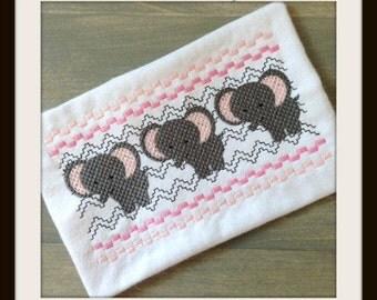 Elephant Faux Smocking - Elephant Embroidery Design - Faux Smocking - Embroidery Design - Baby Embroidery