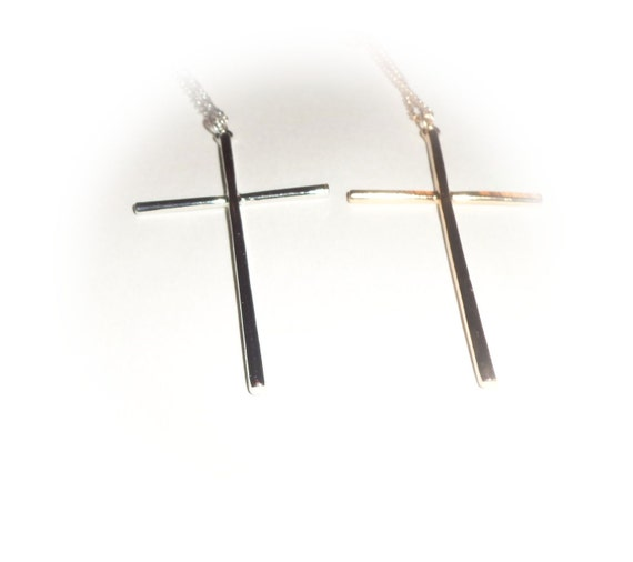 Gold or Silver Long cross Long necklace