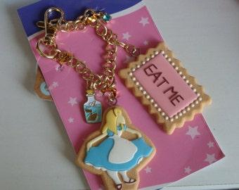 Kawaii Alice in wonderland For Bag charm blacelet.Cookie Alice Biscuit Drink me bottle