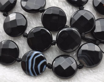 Banded Agate faceted flat coin beads 16mm,21pcs