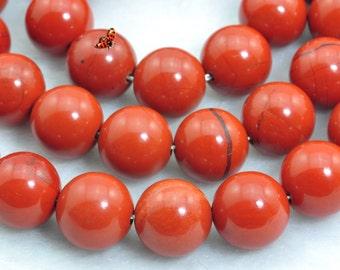 Red Jasper smooth round beads 10mm,37 pcs