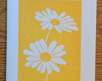 Daisies linocut block print card