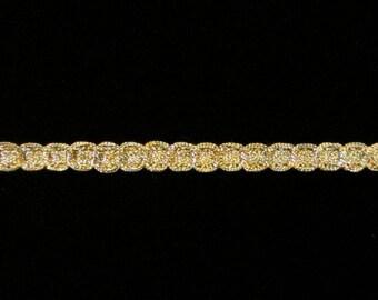 """135.2 Metallic gimp trim """"Narrow Circles"""" antique gold 3/16"""" (5mm)"""