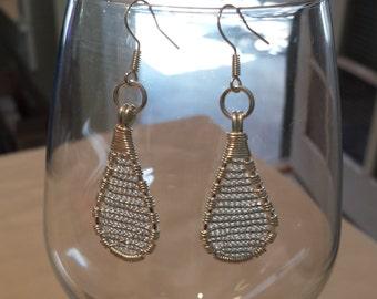 Glass & Silver - Beaded Teardrop Earrings