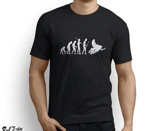 Evolution of Man Snowmobile T-shirt Winter Sport Snow