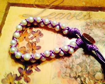 Purple and White Leathercord Wrapped Bracelet