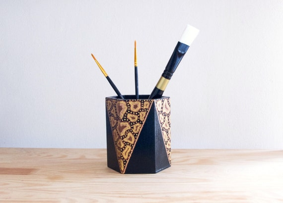Items similar to Wooden pencil holder Wild World / Hand painted pencil ...