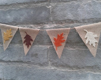 FALL LEAF BANNER - Burlap & glitter banner – Fall sign, Fall décor, Autumn banner,Thanksgiving décor, Holiday burlap banner