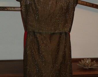 Womens Vintage Early 1960s Designer Lurex Blouse and Pencil Skirt Set by Donovan Galvani Medium