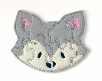 Gray Fox Puzzle - Kids - Felt Toy - Toddler - Shape Puzzle - Educational Toy - Felt Fox