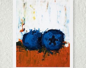 Blueberry Print - Fruit Print - Original Oil Painting - Art for the Kitchen - Still Life Painting - Cute Kitchen Print - Fine Art Print