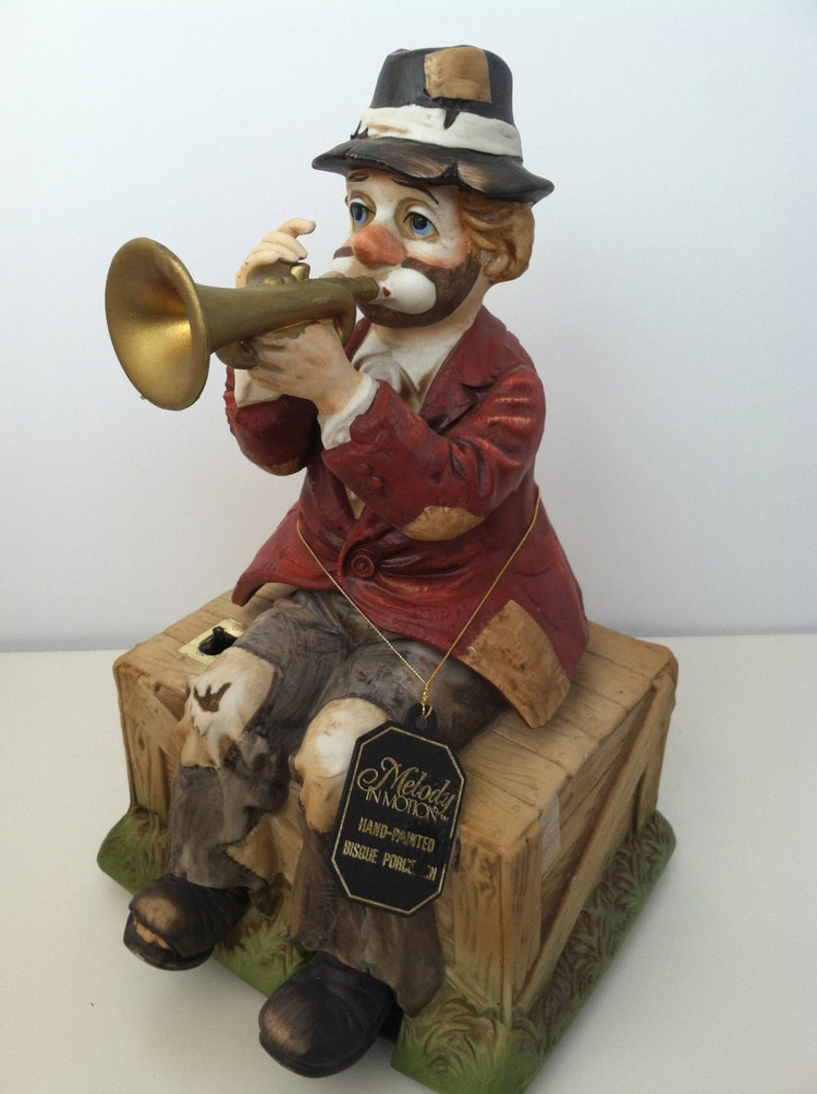 Melody In Motion Music Box Clown Hobo Willie By Vintagefully