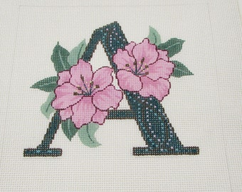 A is for Azalea Theresa Lee Alphabet Letter Hand Painted Needlepoint Canvas