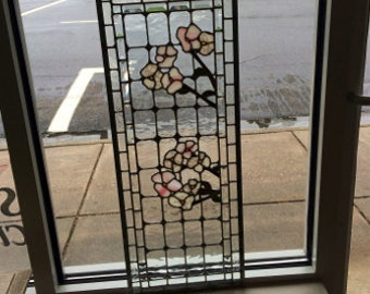 Dogwood Beveled Stained Glass Window - Lead
