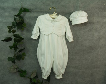 Boy Baptism Knitted white outfit wi th hat ...