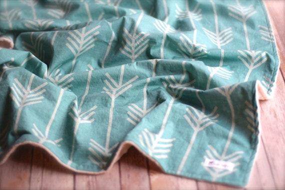 Items Similar To Baby Blanket Aqua Marine Arrows With