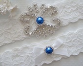 LIZA Style A - Bridal Garter, Wedding Garter Set, Stretch Lace Garter, Something Blue