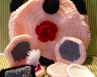 Crochet Makeup Set and Bag. Children's Play Makeup Kit Copy - Kids Gift - Girls gift