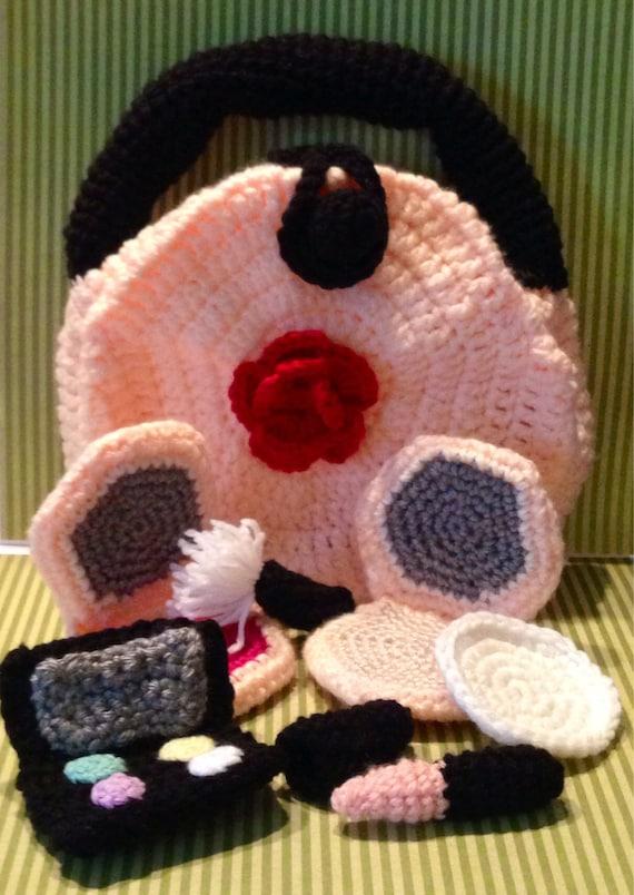 Crochet Makeup Case : Crochet Makeup Set and Bag. Childrens Play Makeup Kit Copy - Kids ...