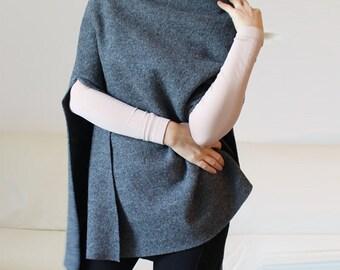 wool cape, minimal gray wool poncho cape