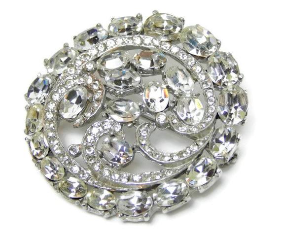 Vintage Brooch Silver Diamond Rhinestone Bridal Jewelry