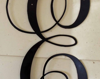 "Black Script Metal Letter ""E"" Door or Wall Hanging"