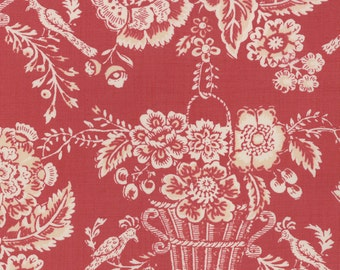 Le Bouquet Francais by French General - Cream Baskets on Red - 1/2yd