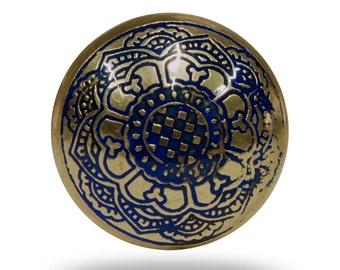 Medieval Etched Metal Furniture Knob, Decorative Dresser Drawer or Bureau Pull, Gold and Blue Unique Cupboard Handle or Cabinet Knob
