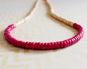 Cream and pink wooden colour block rondelle bead necklace